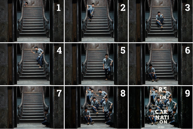 ตั้งค่ากล้องเสร็จแล้วก็ถ่ายมา 7 ภาพ (1-7) แล้วนำมารวมกันใน Photoshop (8) เสร็จแล้วก็นำฟอนต์มาใส่ (9) ปรับสี ปรับสกินโทนเป็นอันจบ