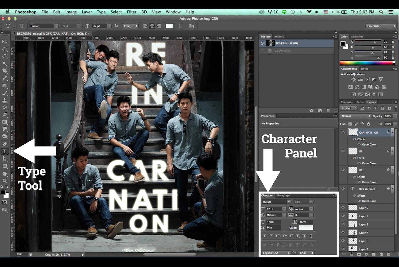 ใช้ Type Tool เพื่อพิมพ์ตัวอักษร แล้ววางคอมโพสที่ต้องการ ภาพนี้ใช้ฟอนต์ Hussar Bold
